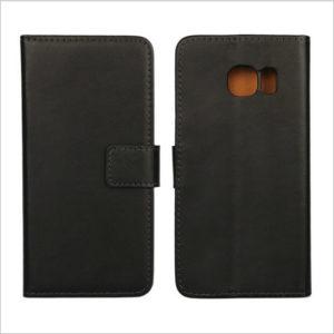 Samsung Galaxy S6 Edge Läder Plånboksfodral - Svart / Brun