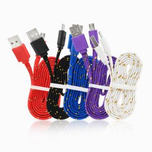 Platt USB Kabel i Nylontyg - 1 Meter