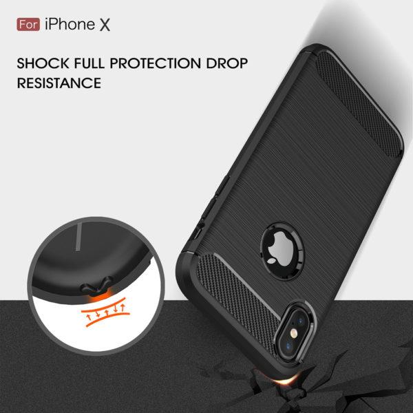 iPhone X Anti Shock Carbon Stöttålig Skal