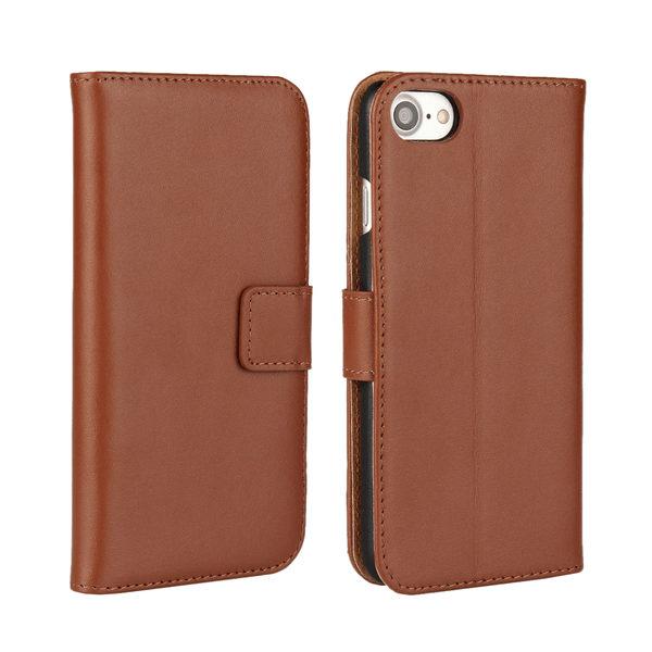 iPhone 7 Plus Läder Plånboksfodral - Brun