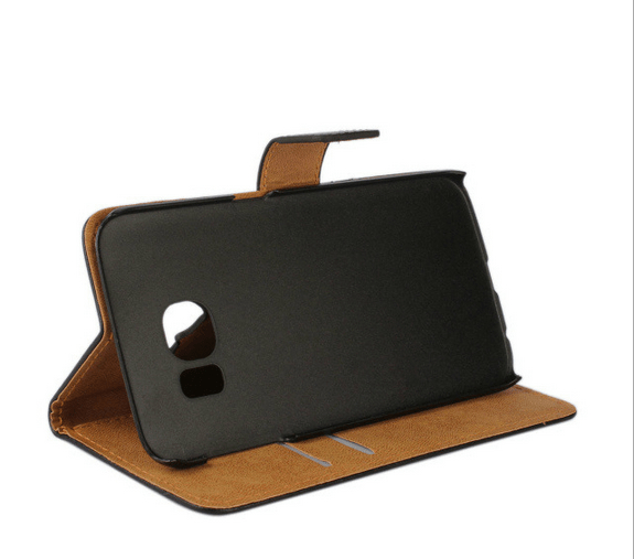 Samsung Galaxy S6 Läder Plånboksfodral - Svart / Brun