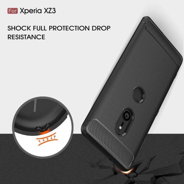 Sony Xperia XZ3 Anti Shock Carbon Stöttålig Skal - Svart